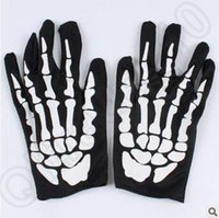 Wholesale Skeleton Table - Hallowen Performance Dancing Skeleton Gloves Devil Skull Gloves Punk Pure Black Sex Finger Against Uv Short Dancing Gloves CCA5083 300pair