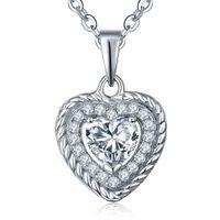 al por mayor corazón de plata diamantes de la cadena-Collares de corazón de plata de ley 925 estilo diamante de baile para mujeres con Zirconia cúbico para collares de boda con cadena 42 + 3MM DP10910A