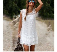 Wholesale Sexy Hollow Slim Lace Dress - 2016091702 Vestidos 2016 Summer Elegant Women Casual Solid Short Sleeve Slim Lace Mini Dress Tops Ladies Sexy White Dress Plus Size