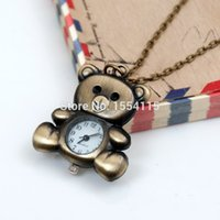 Wholesale Bronze Cartoon Lovely Bear Pocket Watch Necklace Vine Jewelry Korean sweater chain
