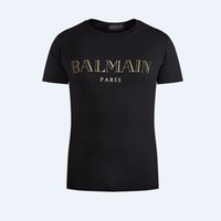 Wholesale 100 Cotton Balmain white T Shirts Men Short Sleeve Summer Tops For Man Famous Brand Design Causal T shirts Male Tees