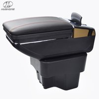 accessories kia - New Update th For KIA K2 RIO armrest box PU Leather central Store content box with cup holder products accessories