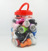 Wholesale 2 A plastic jar dual mini usb car charger with pvc bowl colorfully style for any smart phone classic model