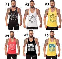 Wholesale 500pcs Types Bodybuilding Stringer Mens Tank Tops Letter Printed Gym Tank Top Sleeveless Sport Mens Vest Tops