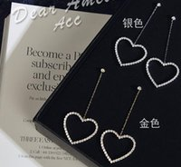 big number line - Han Guodong door fashion temperament Hollow out big hearts earrings long Love line shape earrings ears earrings