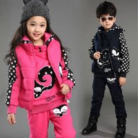 Wholesale 2016 winter gender neutral models plus velvet three piece cotton quilted cotton thread sweater girls sports and leisure suits