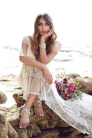 beach brushes - Bohemian Wedding Dresses Cap Sleeves Open Back Brush Train Bridal Gowns Summer Wedding Gown Lace Formal Beach Bridal Dress