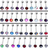 Wholesale 30 Styles Mixed Stainless Steel Acrylic Ball Sexy Punk Bar Body Piercing Jewelry Eyebrow Barbell Belly Navel Rings Lip Tongue Rings Unisex