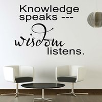 Cheap Knowledge Speaks Wisdom Listens Wall Sticker For Living Room Home Decor Art Words Wall Decals