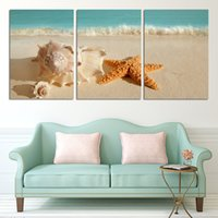 beach wall paintings - 3 Panel Modern Printed Blue Beach Seascapes Paintings Wall Art Home Decor Shell Sea Paintings For Living Room No Frame