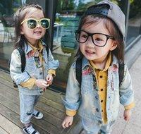 Wholesale 2016 Autumn New Baby Girl Coats Graffiti Fashion Denim Outerwear Children Clothing QY8603