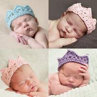 baby king crown - 50PCS Vogue Newborn Infant Baby Boys Girls Princess Headband Children Crochet Knitted Queen King Crown Tiara Headwear Hair Accessories