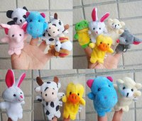 Wholesale 10pcs sets New special small double with foot animal hand puppet cartoon even finger prussian toys for children WJ