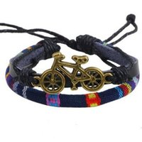 bicycle ornaments - Colorful Fabri Strap Alloy BICYCLE BRACELET Charm Bracelets fashion wrist bangle Free style Cheap On Sale wrist jewelry ornaments Bangles