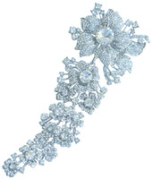 Wholesale 7 quot Gorgeous Bridal Flower Brooch Pin w Clear Rhinestone Crystals EE04704C1