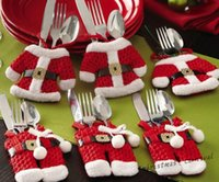 bear cutlery - Red Christmas Supplies Christmas dress pants small cutlery set cutlery bag sets Christmas table decoration