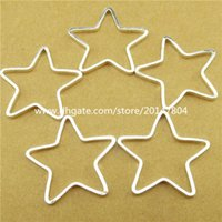 Wholesale 13768 Copper Silver Tone Star Pentagram Pendant Connector Jewelry Making