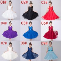 Wholesale High Quality Girl Princess Party Dresses sash Sleeveless Dress Princess mesh lace Girls Dress Birthday Dress Flower Girls Dresses DHL Free