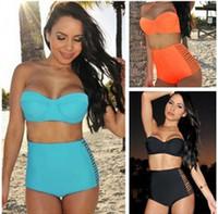 Wholesale Vintage High Waist Bikini Set Conservative Swimsuits Fashion Sexy Push Up Swimwear
