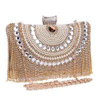 Wholesale HOT Beaded women evening bags tassel rhinestones clutches evening bag diamonds purse evening bag black silver gold bags