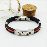 absolute charm - KPOP Fan B A P Best Absolute Perfect BAP Team Logo Sport Silicone Titanium steel Friendship Wristband Bracelets Y2745