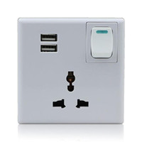 Wholesale H049 Double USB Outlet Power Wall Socket Plug w Switch International Universal