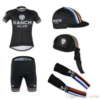 bianchi gloves - 2016 Tour De France Bianchi Cycling Jerseys Black Color With Gloves Arms And Cpas Short Sleeves Size S XL Compressed Bike Wear