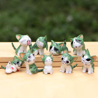 accessories cats home - 9pcs Cute Cat Figurines Fairy Garden Miniatures Bonsai pvc Dollhouse Toys action figure Decor Jardim Gnomes Home Accessories
