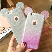 Wholesale Bling tpu micky mouse ear cellphone cases thin for girls changing color cases for i phone cases for S s s