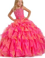 Wholesale Sweet Kids Party Spaghetti straps Flower Girls Beaded Ball Gown With Floor Length Child Girl s Pageant Dresses
