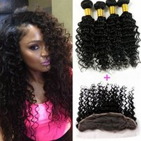Wholesale 13 Lace Frontal Closure With Bundles Peruvian Deep Wave With Closure Peruvian Deep Wave Curly Lace Frontal And Bundles
