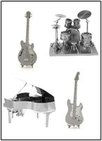 Wholesale Mini Qute Piece Fun D Musical Instrument Electric Guitar Drum Set Piano Bass FiddleI Metal Puzzle Adult Models Educational Toy