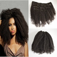 Wholesale Burmese hair kinky curly clip in hair extensions a a b for black woman fast shipping