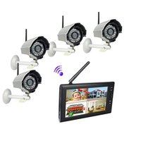 Wholesale 7 inch TFT Digital G Wireless Cameras Audio Video Baby Monitors CH Quad DVR Security System With IR Night Light Cameras F1620D