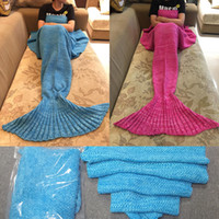 Wholesale Kintted Mermaid Blankets x90cm Adults Mermaid Tail Blanket Super Handmade Crochet Soft Warmer Blankets Bed Sleeping Costume Knit Blanket