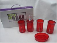 acrylic tumbler set - 5Pcs Set Acrylic Bathroom Set Accessories Hand Soap Dish Dispenser Tumbler Toothbrush Holder