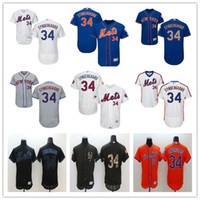 al por mayor parches de color naranja-2016 NY Mets # 34 Noah Syndergaard Majestuoso Nueva York MLB Jerseys de béisbol Negro Blanco Azul Naranja Con Mr Mets Patch En Venta