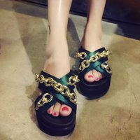 Wholesale Europe summer sandals heavy bottomed muffin a cross shaped metal chain satin sandals and slippers