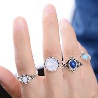Wholesale 4 Set Boho Women Silver Gold Plated Midi Knuckle Rings Set Vintage Knuckle Ring Set with Crystal Stone