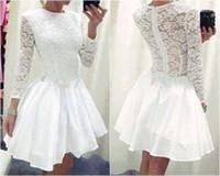 art wear clothing - White Lace Dress Long Sleeves Casual Dresses Vestidos Evening Mini Dress A Line Chiffon Skirt Mini Women Clothing Bowknot Belt Full Back