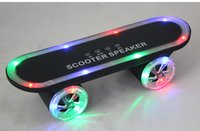 Wholesale Beautiful Fashion LED Flash Kick scooters Mini bluetooth speakers wireless Subwoofer Stereo Portable Skateboard speaker for Table pc phone