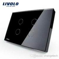 ac wall switch - Livolo US Standard Switch Black Crystal Glass Panel AC V Touch Sensor Wall Light Switch VL C304 with LED Indicator