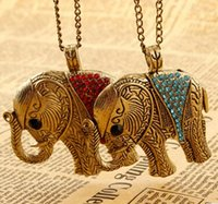 american trade mark - European and American trade marking retro jewelry diamond elephant long necklace sweater chain retro luxury sweet hearts bow pearl