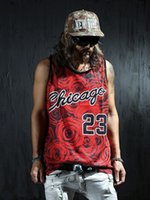 Wholesale New men s summer cagtank tops D print rose floral Chio basketball vest fit slim jersey sleeveless tee shirts
