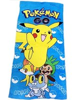 Wholesale Poke Go Cotton Bath Towel Pikachu Print Bath Towel cm Poke Cartoon Kids Beach Towel blanket