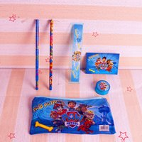 Wholesale Paw Patrol Stationery Set Notebooks Pencil Case Bag Erasers Pencil Sharpener Ruler School Supplies Student Christmas Gift