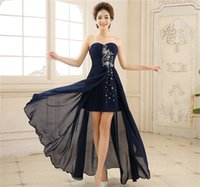 Wholesale Navy Blue Prom Dress Lace Up Sweetheart Neckline Beaded Chiffon High Low Short Front Long Back High Quality Cheap Party Gowns