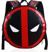 Wholesale DEADPOOL children school cartoon kids shopping bags Kids Book bags PU Leather Unisex Cartoon backpacks cm KKA379