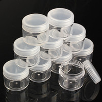 arts plastic storage - 1000Pcs g Portable Plastic Cosmetic Empty Jar Pot Box Makeup Nail Art Cosmetic Bead Storage Container Round Bottle Transparent