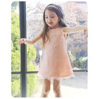 Wholesale Girls Baby Summer Korean Style Love Heart Sleeveless Lace Dress Children Lace Princess Dress Long Blouse Pink White